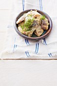 Soused herring in a mustard sauce with dill