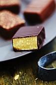 Chocolate-marzipan praline (close-up)