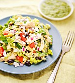 Southwest chicken salad with corn, tomatoes and black beans