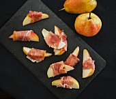 Pears wrapped in bacon