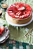 A strawberry mousse cake and coffee