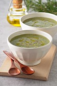 Herb soup with olive oil