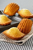 Madeleines on top of the baking tin and next to it