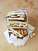 Egg salad and radicchio sandwiches in a picnic box