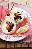 Cheese cream with berries