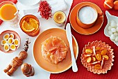 A spicy breakfast with salmon rolls