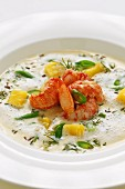 Sour cream soup with crayfish and green beans