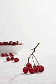 Fresh hawthorn berries on stems and in a bowl