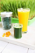Wheatgrass juice, orange juice and spirulina