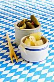 A small pot of gherkins