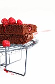 Two brownies with raspberry sauce on a wire rack