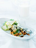 Blue cheese with walnuts and honey sauce