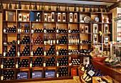 Bottle display in the shop of Domaine Jacques Tissot. Place de la Liberté, Arbois, Jura, France.