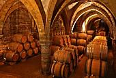 Gotisches Kellergewölbe mit gelagerten Weinfässern