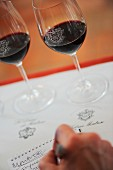 Writing notes at the En Primeur tasting of the 2011 vintage at Château Montrose. St-Estèphe, France. [Bordeaux]