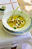 Pancake soup with chives
