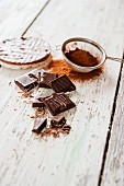 Chocolate rice crackers with ingredients
