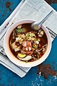 Sukhothai (noodle soup with pork, tofu and egg, Thailand)