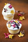 Spiced cupcakes decorated with sugar leaves