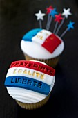 Almond cupcakes for Bastille Day