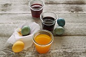 Easter eggs and food colouring