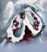 Austern mit Granatapfelkernen