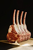 Tomahawk rack of ribs (a rack of beef ribs with extra long bones)