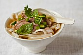 Pho with sliced beef, noodles, onions and chilli peppers