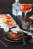 Buckwheat pancakes with red caviar and smoked salmon