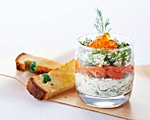 Verrine with cream cheese, smoked salmon, dill and caviar