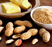 Ingredients for making peanut brittle