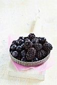 Blueberries and blackberries in a tartlet dish