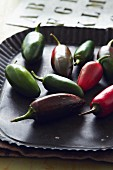 Red and green jalapeño chilli peppers