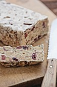 Torrone with hazelnuts and dried cherries