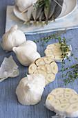 Garlic bulbs, whole and halved