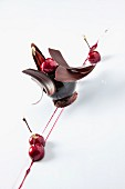 A chocolate cherry dessert