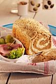 Two-dough bread, sliced