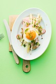 Ham and eggs with asparagus