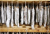 Fuet sausages hanging up (air-dried hard sausage from Catalonia)