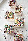 Marshmallow cubes with colourful sprinkles