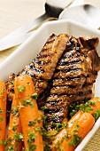Grilled pork fillet with glazed carrots