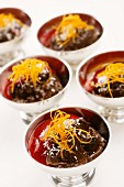 Chocolate mousse with coconut and orange zest