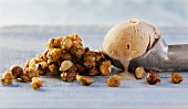 Hazelnut ice cream with salted hazelnut brittle
