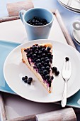A slice of blueberry cheesecake