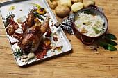 Pheasant with bacon, garlic, rosemary and sauerkraut