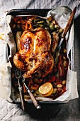 Grilled chicken with vegetables and lemon