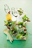 Mixed leaf salads with vinaigrette and yogurt dressing