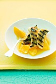 Grilled banana with orange sauce