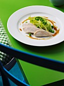 Corn-fed chicken breast with mushy peas