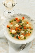 Vegetable broth with semolina dumplings
